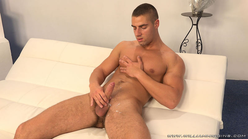 Arny Donan stroking some cum from his uncut cock 9