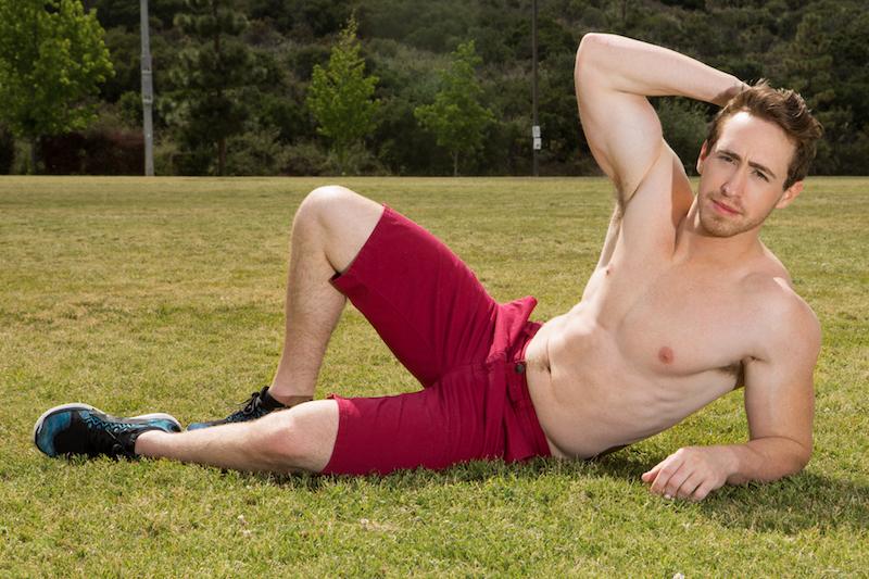Sporty muscle jock appearing in gay porn