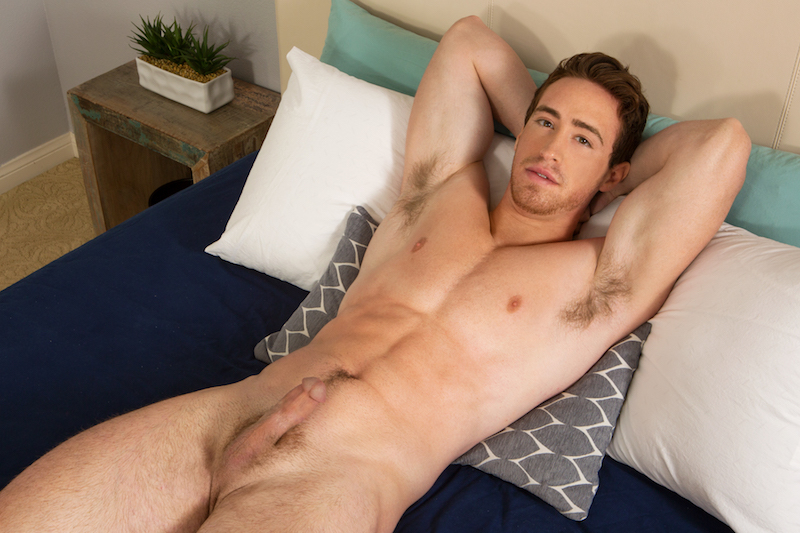 Naked jock dude in a wanking video