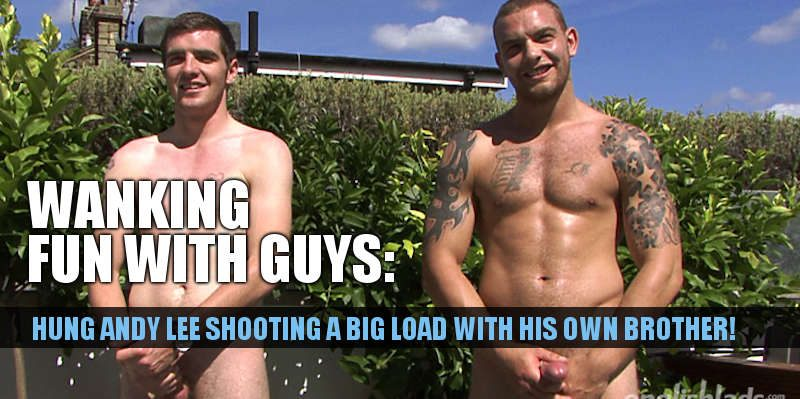 Hung straight Andy Lee wanking with his brother
