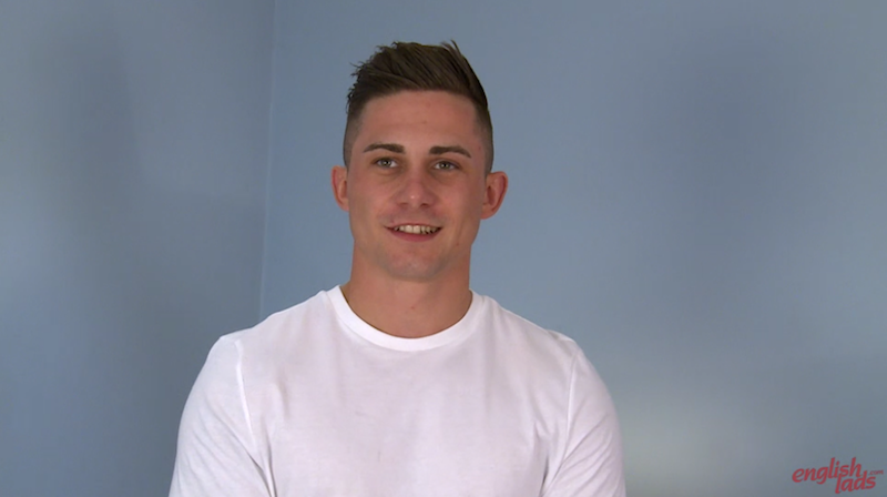 Good looking straight guy Hugo Jones appears on video for the Englishlads site