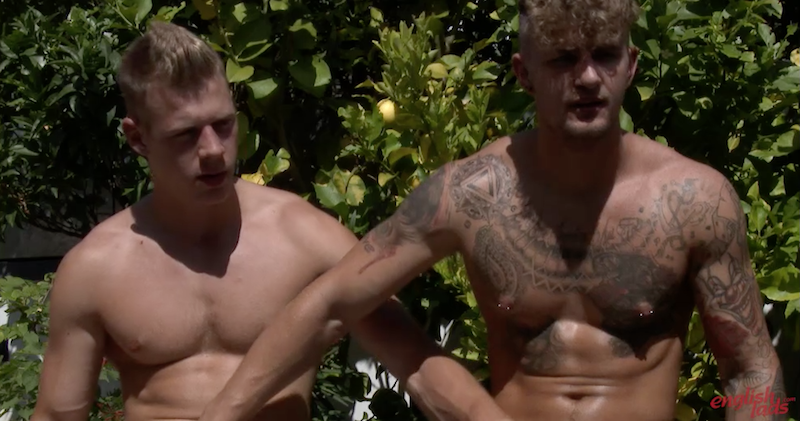 Straight British guys Dan Fellows and Danny McCaw jerk each other off in the sun for a mutual masturbation video