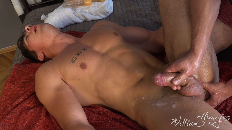 Fit lad Martin Gajda gets his cum wanked out of his uncut cock 11