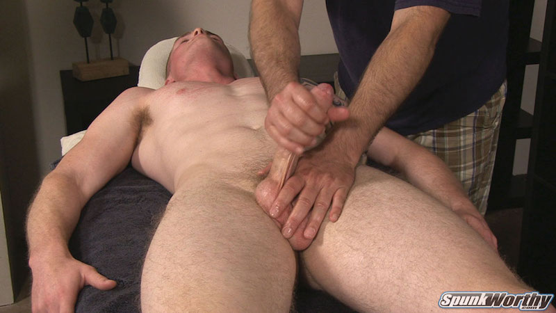 Wanking another guys uncut cock