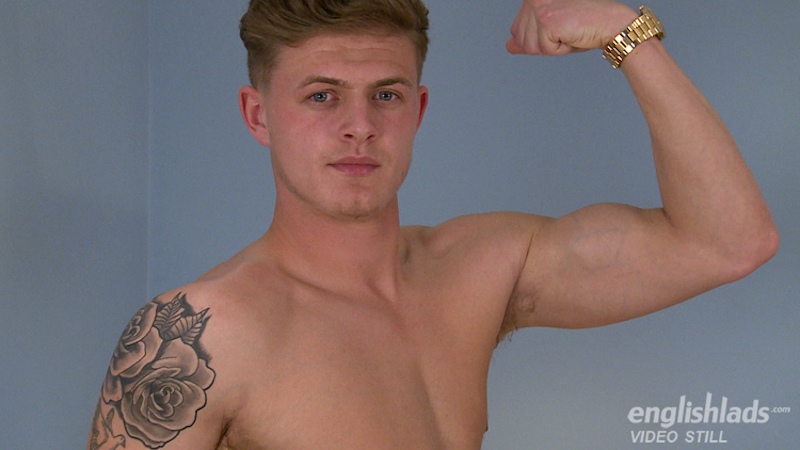 Straight guy Jack flexes his arm on video, ready to get his big uncut cock out for a wank
