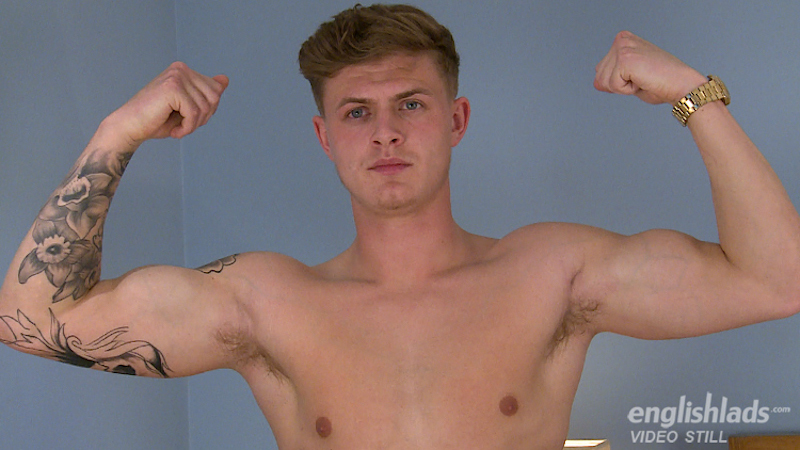 Straight performer Jack Ashton shows off his muscles in his first masturbation video for Englishlads
