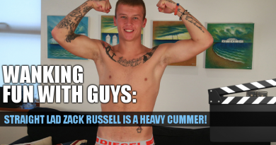 Straight guy Zack Russell wanks out a big cum load in his first solo