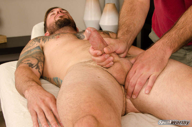 Hung straight guy being wanked by another man on video
