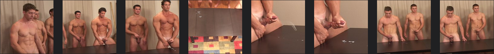 6 guys jerking off together in a cum shot contest