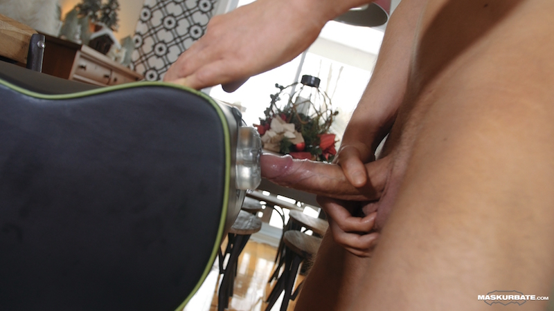 Sinking his hard and wet uncut cock into a fleshlight
