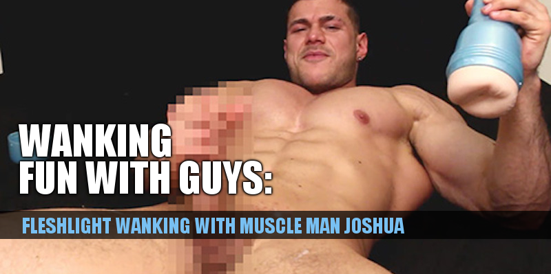 bodybuilder jerking off with a fleshlight