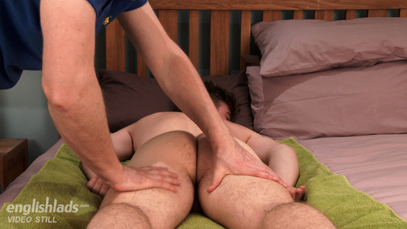 massaging a straight boys naked thighs and ass