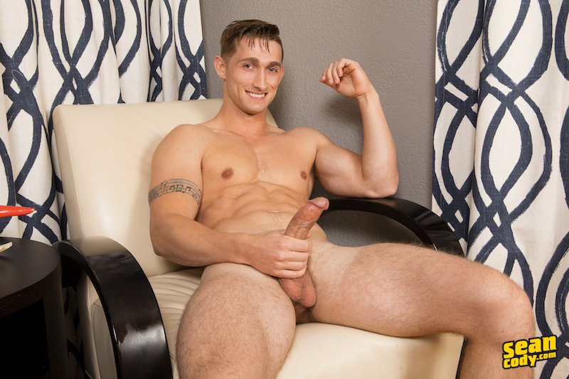 Hung jock Slade wanking his big cock on video for SeanCody