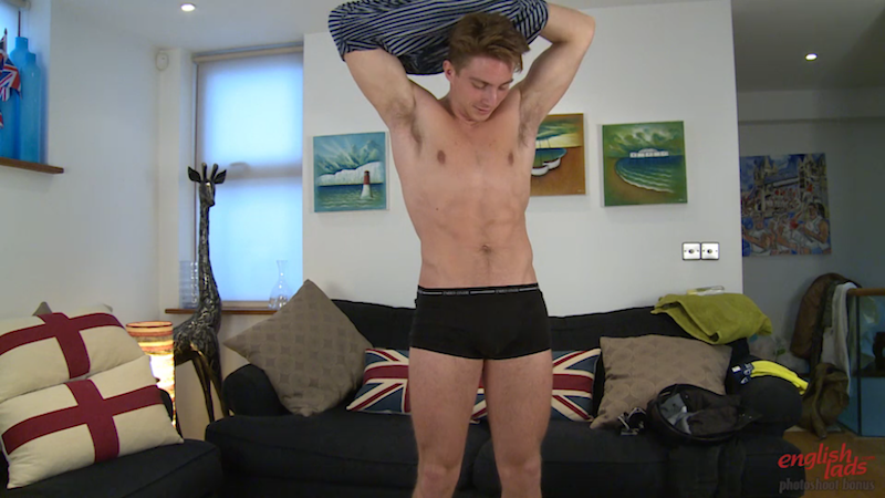 Straight boy taking his clothes off for a gay porn video