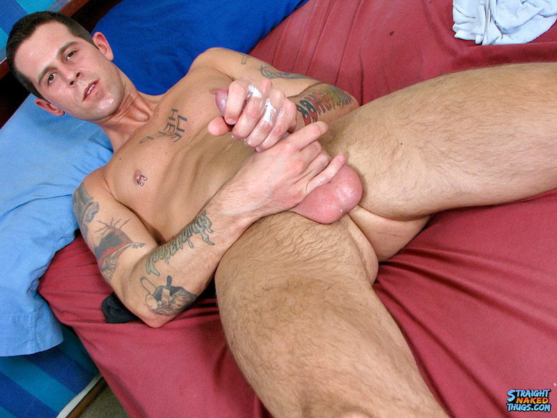 Straight guy jerking off with lube