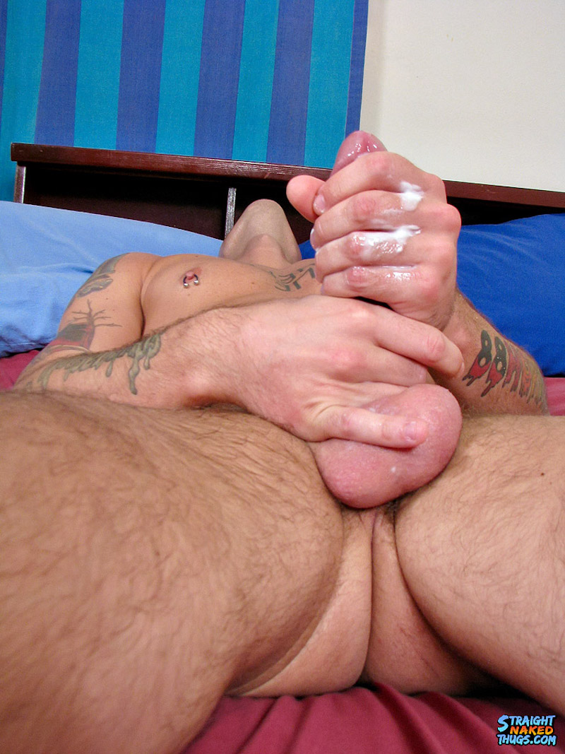 Lube oozing through his fingers while jerking off