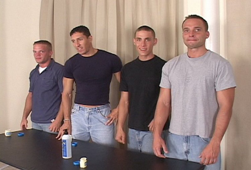 four straight guys in a group jerk off