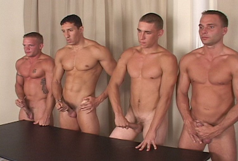 four horny guys in a cum shot competition