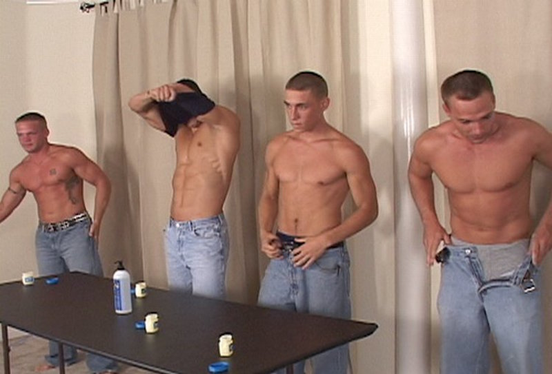 4 jocks get their cocks out for a cum contest