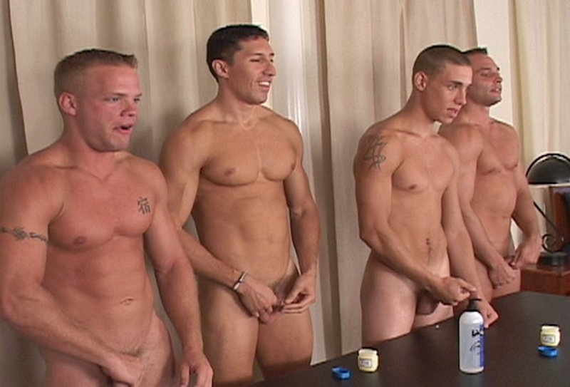 4 straight jocks stroking their cocks
