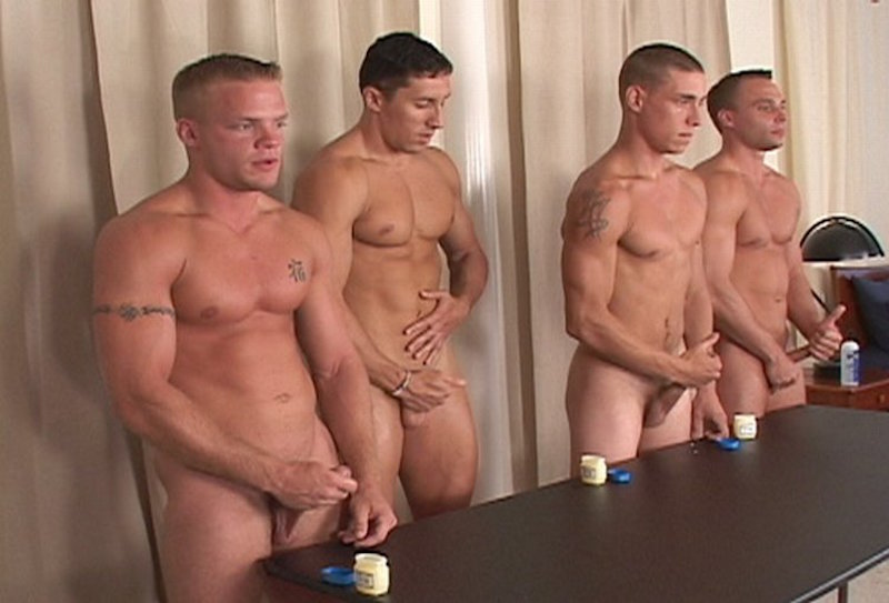 4 straight guys jerking off together
