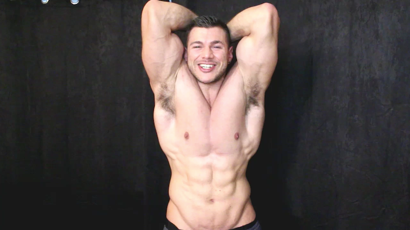 ripped muscle man flexing