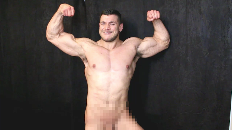 naked muscle man flexing on video