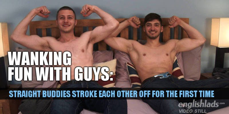 2 straight friends wanking each other