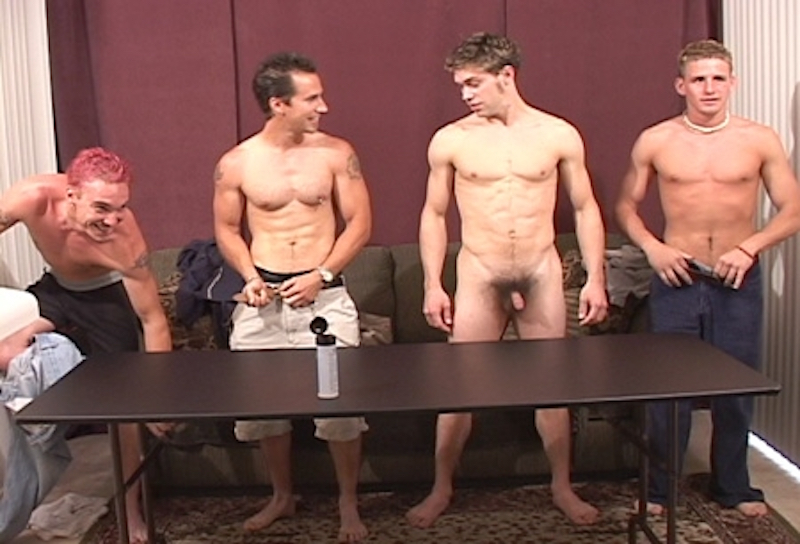four naked guys jerking off