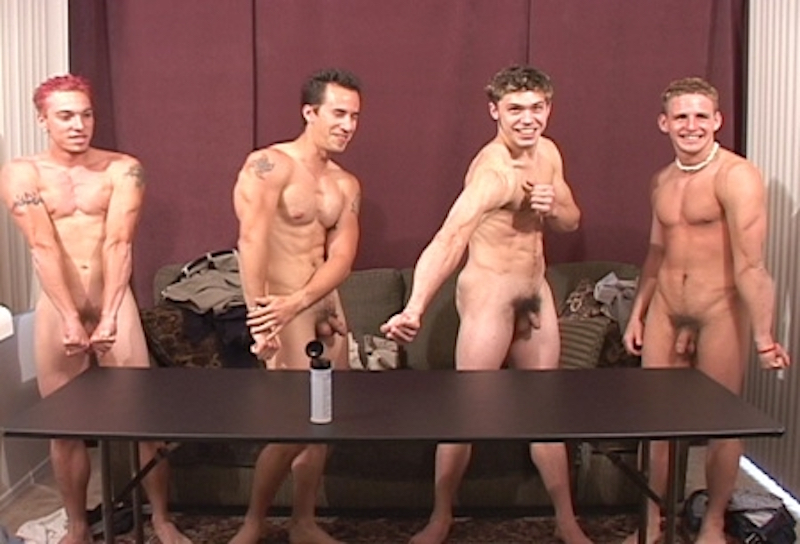 horny straight jocks naked and flexing their muscles