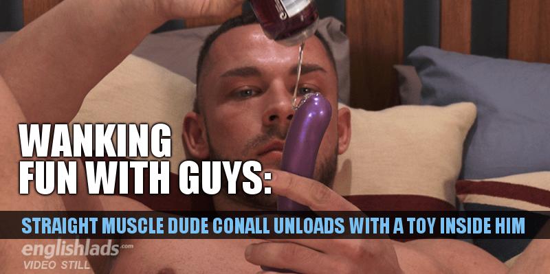 Straight guys uses dildo