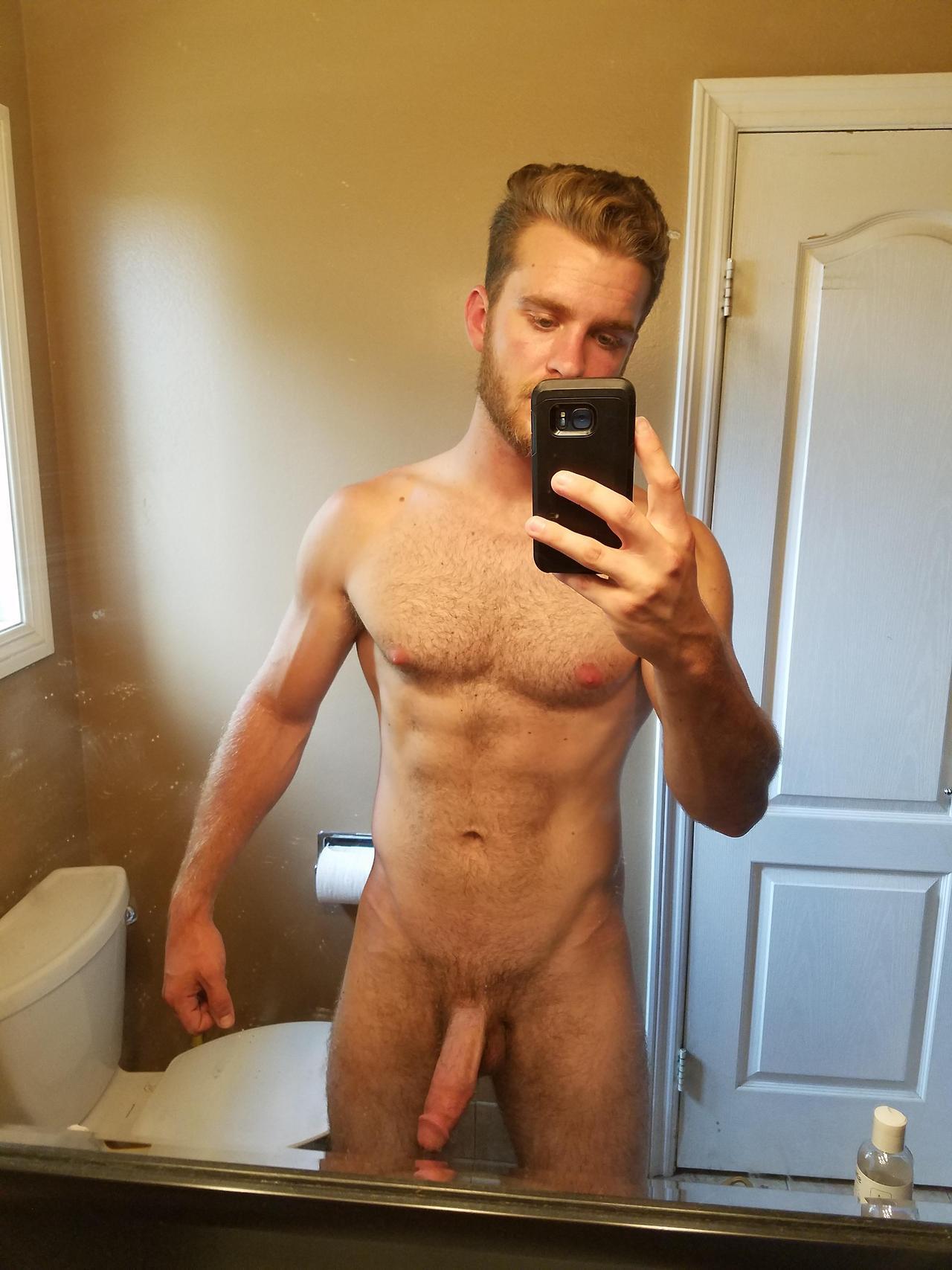 naked jock in his bathroom
