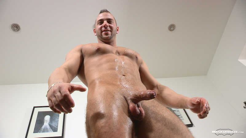 straight muscle guy splashed with cum