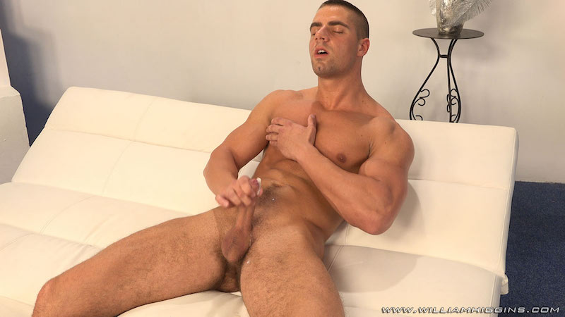 Arny Donan stroking some cum from his uncut cock 7