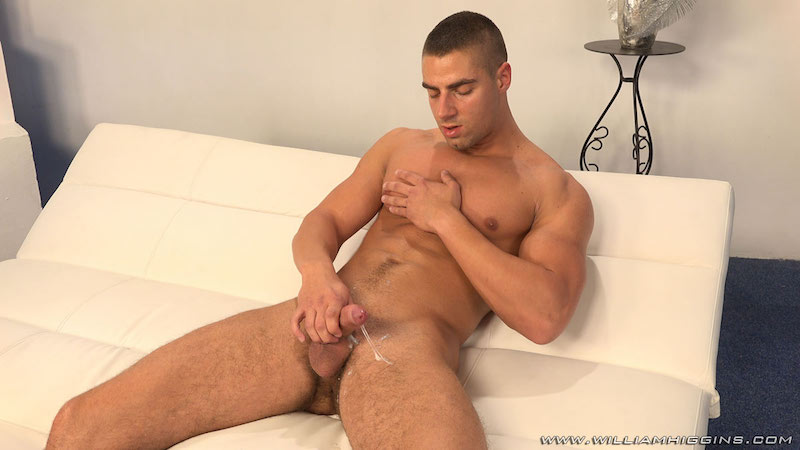 Arny Donan stroking some cum from his uncut cock 8