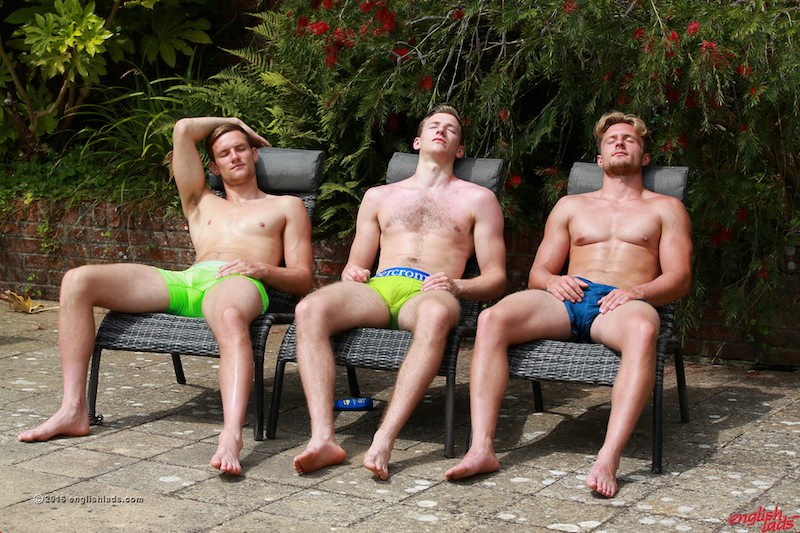 Three straight lads lay back in the sun and get ready to share a mutual wank and cock sucking session in this Englishlads video