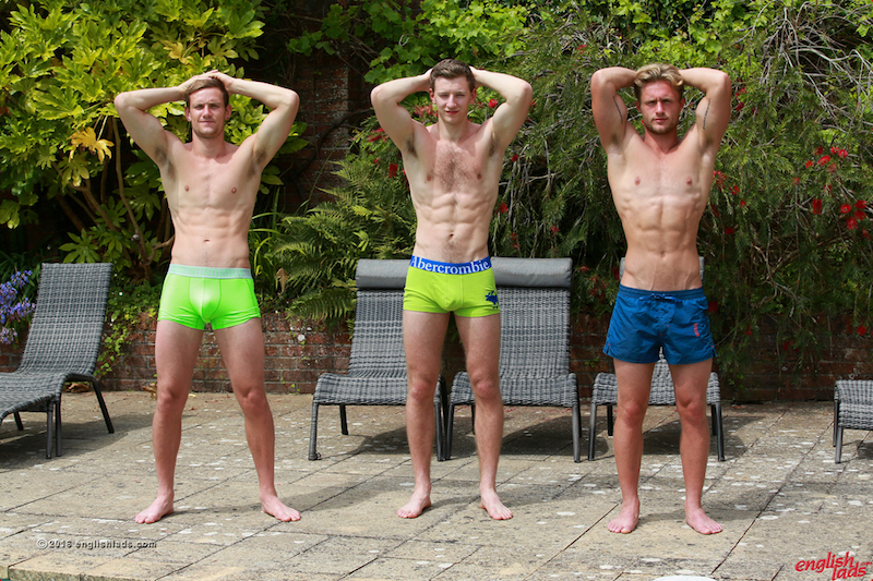 Straight guys Joel Jenkins, Andrew Hayden and Aaron Janes show off their abs together