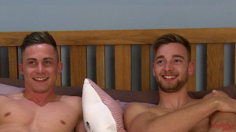 Straight friends Hugo Jones and Noah Milton lay on the bed with their cocks out for each other to see