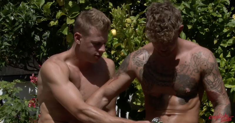 Two straight guys reach over and start jerking each other off on video for the first time