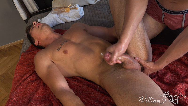 Fit lad Martin Gajda gets his cum wanked out of his uncut cock 10
