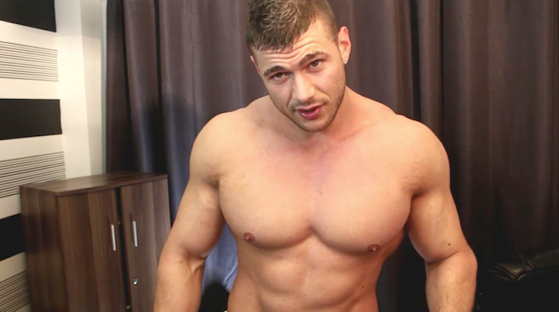 Big muscle man Joshua Armstrong wanking on video
