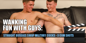 Two straight best mates wanking each other off