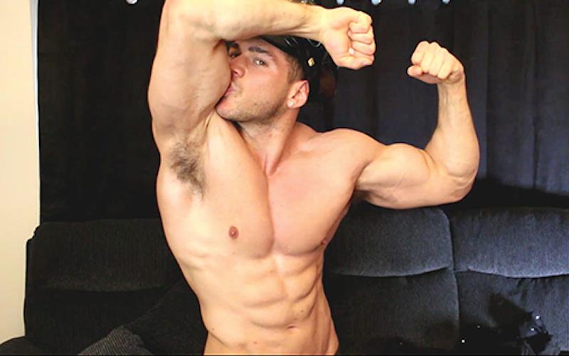 muscle flexing hunk