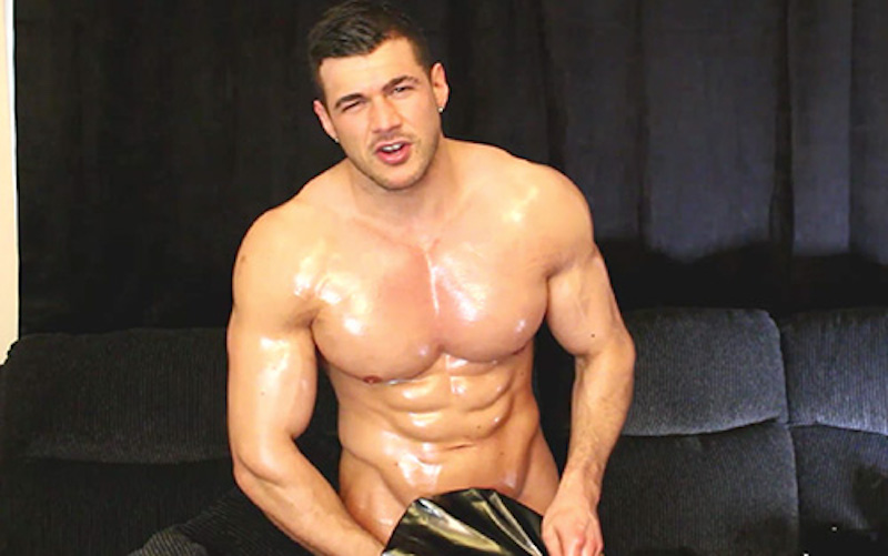 oiled muscle man wanking