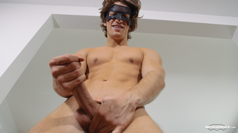 Hard jock wanking his long uncut cock on video