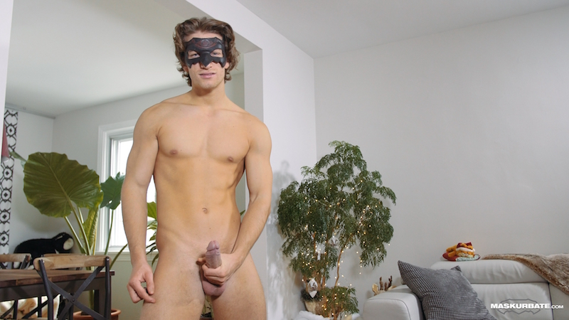 Naked man with a hard uncut cock