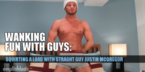 Justin McGregor wanking his uncut cock and cumming hard