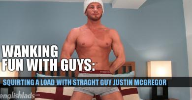 Justin McGregor wanking his uncut cock and cumming hard
