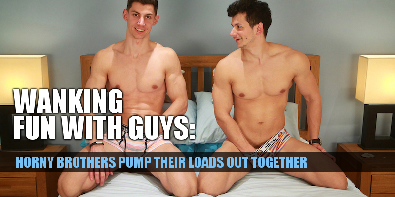 uncut straight brothers jerking off together