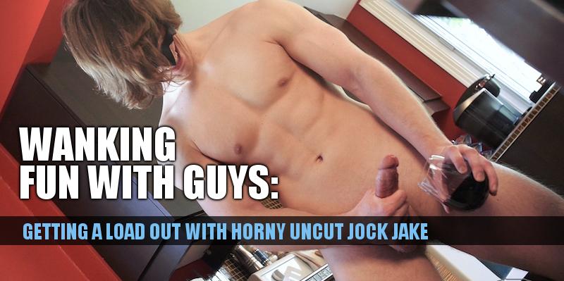 horny uncut jock Jake cums on video